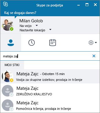 Posnetek zaslona okna Skypa za podjetja med iskanjem stika za dodajanje.