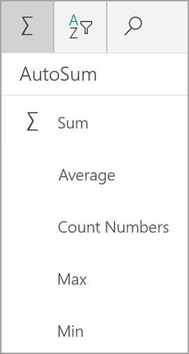 Windows tablet Excel sum