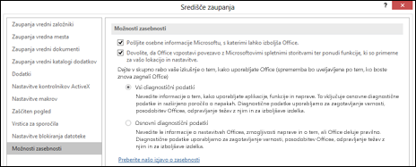 Razdelek z možnostmi zasebnosti v nastavitvah središča zaupanja v Officeu za Windows