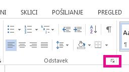 Pogovorno okno »Odstavek« odprete tako, da kliknete ikono »Razširi«.
