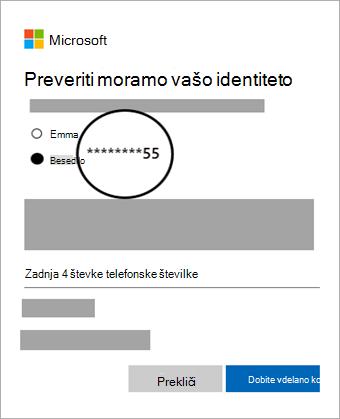 Posnetek zaslona izbrane možnosti preverjanja za pridobivanje kode