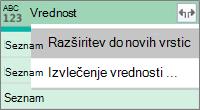 Razširitev seznama JSON