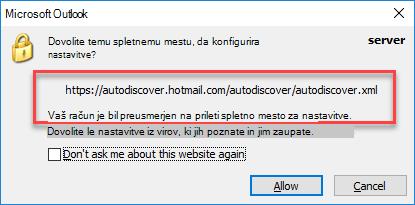 Preusmeritev za samodejno odkrivanje v Outlooku