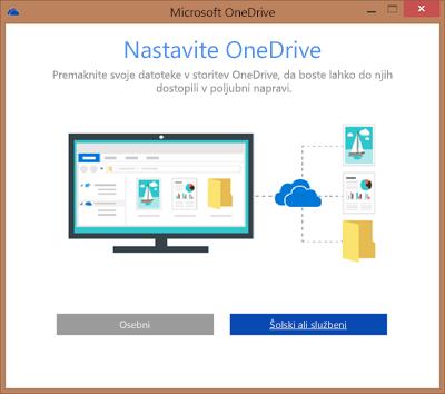 Posnetek zaslona pogovornega okna »Nastavitev storitve OneDrive« med nastavitvijo storitve OneDrive za podjetja za sinhronizacijo