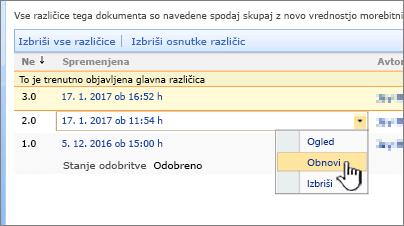 Spustni seznam shranjevanja različic za datoteko z označeno možnostjo obnovitve