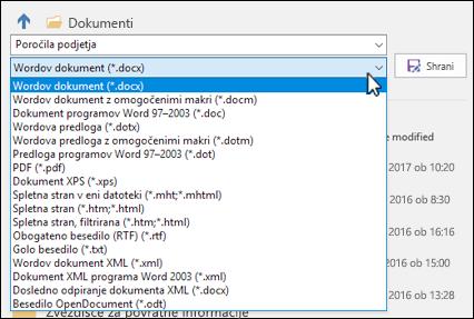 Kliknite spustni meni za vrsto datoteke, da izberete drugo obliko zapisa za svoj dokument