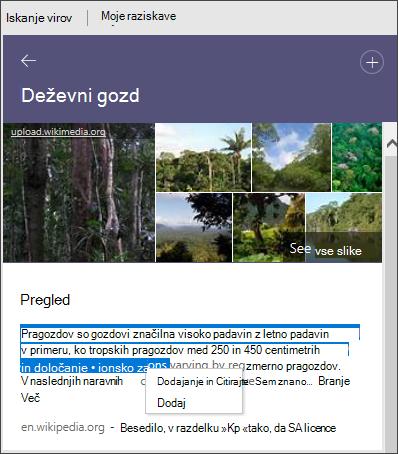 Raziskovalec Ogled vseh slik, dodajanje besedila ali dodajanje in citiranje besedila