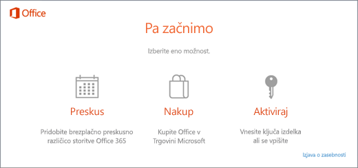 Posnetek zaslona, na katerem so prikazane privzete možnosti preskusa, nakupa ali aktiviranje za računalnik, v katerem je Office vnaprej nameščen.