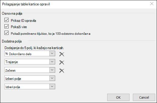 Prilagodite nastavitve konfiguracije kartice