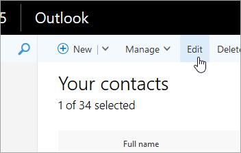 Posnetek zaslona gumba »Uredi« pod Outlookovo vrstico za krmarjenje.