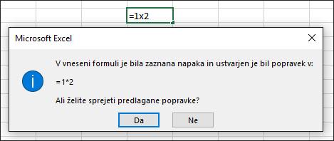 Okno sporočila s prošnjo, da za množenje znak x zamenjate z znakom *