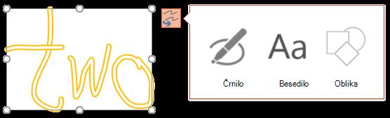 Pretvorba rokopisa prikazuje, katero vrsto predmeta lahko poskusi pretvoriti izbrani predmet.