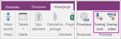 Posnetek zaslona menija »Vstavi« z gumbi AV v programu OneNote 2016.