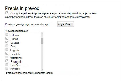 Omogočanje prepis in prevod