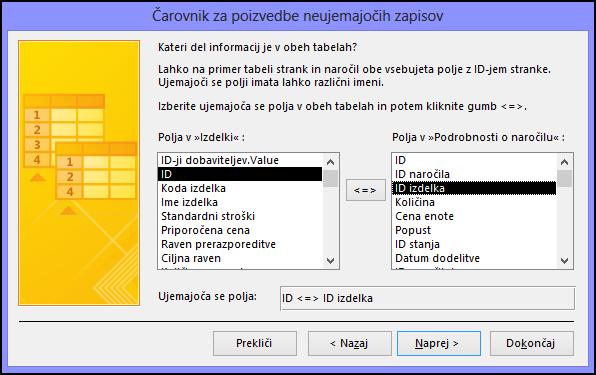 Izborite ujemajoča se polja v tabelah v pogovornem oknu čarovnika za poizvedbe za iskanje neujemajočih zapisov