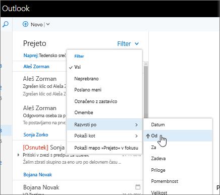 Posnetek zaslona mape »Prejeto« z izbrano možnostjo »Filter« > »Razvrsti po« > »Od«.