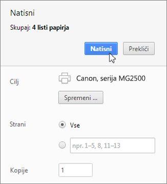 Kliknite »Natisni«.