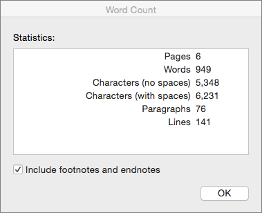 Word count dialog box