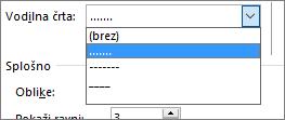 Vodilni tabulator v kazalu vsebine spremenite v črtice ali pike.