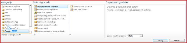 Izbirnik spletnega gradnika prikazuje spletni gradnik programa Excel Web Part