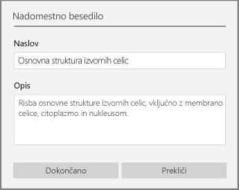 Pogovorno okno nadomestnega besedila za dodajanje nadomestnega besedila v OneNotu za Windows 10.