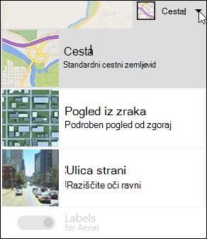 Vrsta zemljevida spletnega gradnika za zemljevide Bing