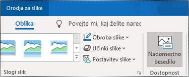 Gumb »Nadomestno besedilo« na traku Outlooka za Windows.
