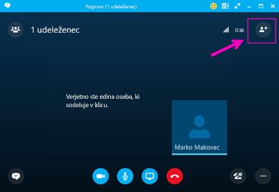 Klicanje z aplikacijo Skype za podjetja.