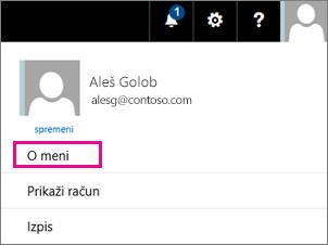 Posnetek zaslona menija uporabniški račun v storitvi Office 365