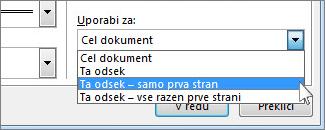Seznam za izbiranje strani s prikazano obrobo
