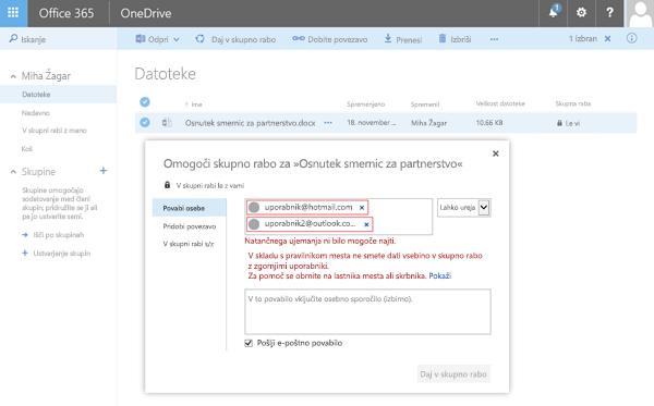 Uporabniki prejeli to napako, ko dati v skupno rabo dokumenta SkyDrive, naslov omejena domene.
