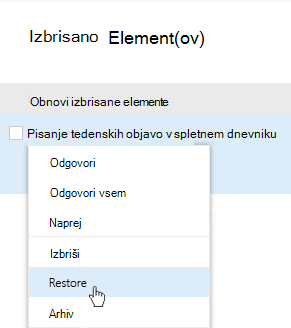 Posnetek zaslona, ki prikazuje gumb za obnavljanje izbrisanih elementov