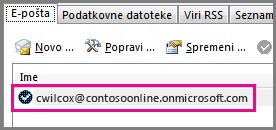 Račun v pogovornem oknu »Nastavitve računa« v programu Outlook 2013