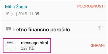 Pregledovalnik OME s s sistemom Android e-poštni program 1
