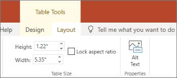 Gumb nadomestno besedilo na traku za tabelo v programu PowerPoint online.