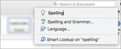 Opozori Me polje za iskanje v programu Word for Mac 2016