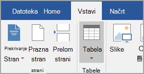 Vstavljanje tabele
