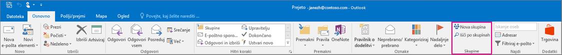 Možnosti skupin na glavnem Outlookovem traku