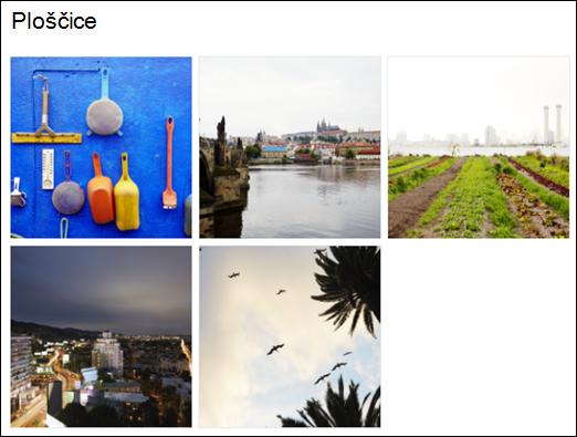Pogled ploščice spletnega gradnika galerije slik