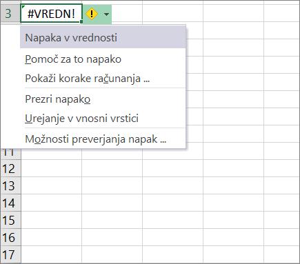 Spustni seznam se prikaže ob ikoni sledenja vrednosti