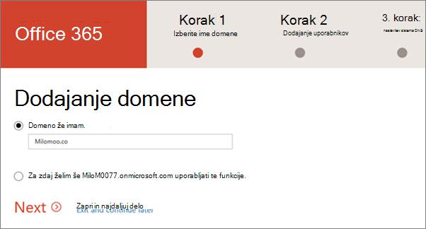 Dodajanje domene