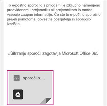 Pregledovalnik za šifrirana sporočila v storitvi Office 365 s storitvijo Gmail 1