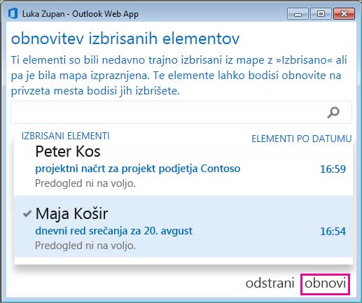 Pogovorno okno »Obnovitev izbrisanih elementov« v storitvi  Outlook Web App