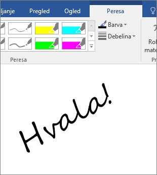 Prikazuje primer besed z rokopisom v Wordovem dokumentu