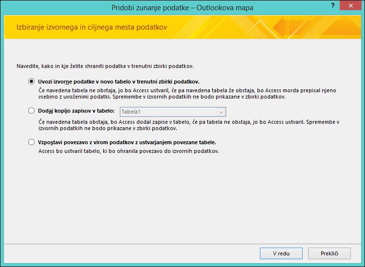 Izberite, da uvozite ali priložite besedilno datoteko v Outlookovo mapo ali ustvarite povezavo do nje.