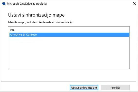 Posnetek zaslona, na katerem je prikazano pogovorno okno »Ustavi sinhronizacijo mape«