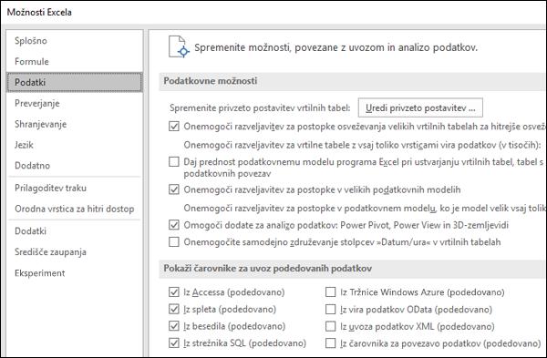 Možnosti podatkov so bila premaknjena iz datoteke > Možnosti > dodatno odsek nov zavihek, imenovan podatkov v razdelku Datoteka > možnosti.