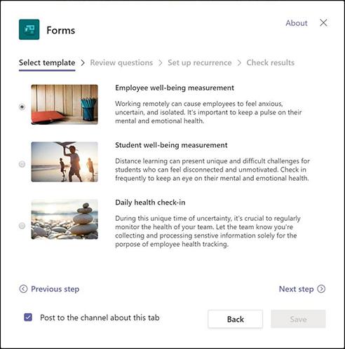 Pogovorno okno» obrazci «v aplikaciji Teams, v katerem je opisana predloga» dobro počutje zaposlenih «in uvod v ustvarjanje poteka dela