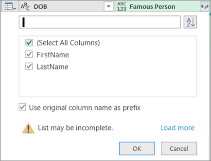 Clicking Expand for a structured record column