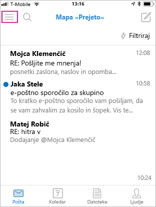 Začetni zaslon za Outlook Mobile z označenim menijskim gumbom